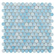 Light Blue Multi Penny Porcelain Mosaic - shower floor
