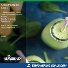 Amazing protein shake recipes by Isagenix. Learn how the amazing Isalean Shake can fuel you with 24 grams of indentured protein as well as needed vitamins and minerals to make a complete meal replacement shake that tastes amazing Protein Shake Recipes, Green Smoothie Recipes, Protein Shakes, Green Smoothies, Smoothie Detox, Whey Recipes, Drink Recipes, Healthy Morning Smoothies, Breakfast Smoothies