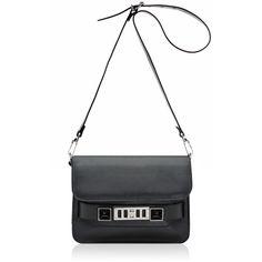 PROENZA SCHOULER PS11 Mini Classic Black Stud ($1,445) ❤ liked on Polyvore featuring bags, handbags, shoulder bags, shoulder strap bags, shoulder strap handbags, mini purses, leather shoulder handbags and studded purse