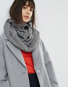 ASOS Woven Check Infinity scarf With Zip and Ring Pull - Multi