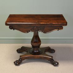 ~ Striking Rosewood Regency Antique Games / Card Table with Lion Paw Feet ~ | c.1830 United Kingdom | onlinegalleries.com