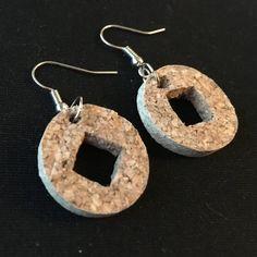 Geometric cork earrings, upcycled jewelry, cork earrings, gift for her by bethebridge on Etsy