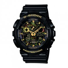 Casio G-Shock Camouflage Men's Black Bracelet Watch. A basic black colouring is offset by the metallic camouflage pattern of the dial in this Casio G-Shock Camouflage menï¾'s watch. Casio G-shock, Casio Watch, Casio G Shock Watches, Sport Watches, Cool Watches, Watches For Men, Wrist Watches, Men's Watches, Black And Gold Watch