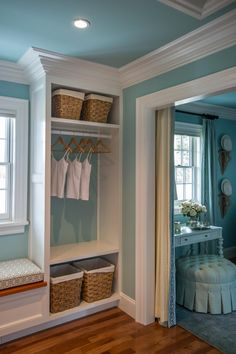 An adjoined dressing room provides a relaxed space to get ready and start the day.