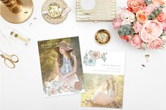 Delightfully feminine, the Floral Fresh collection features beautiful hand-drawn floral illustrations and a soft, pastel color palette. The subtlety of the art, combined with clean, classic typography, makes this collection the perfect accompaniment to your senior woman portraiture. Collab between Swoone and Amanda Holloway.