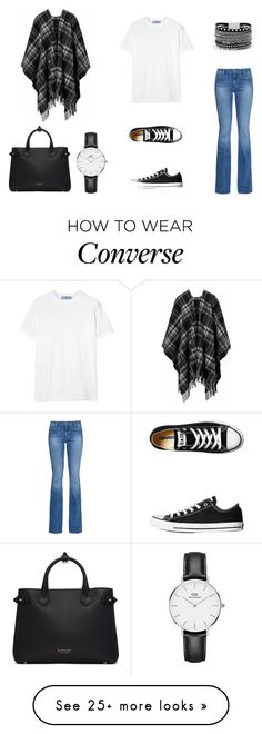 """""""Polyvore Flare Jeans Contest"""" by farahahmed2016 on Polyvore featuring M.i.h Jeans, Prada, Converse, White House Black Market, Daniel Wellington, Burberry, denimtrend and widelegjeans"""