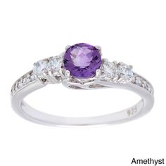 Oravo Sterling Silver Round-cut Prong-set Gemstone Cubic Zirconia Ring - Overstock™ Shopping - Top Rated Oravo Gemstone Rings