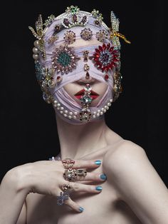 "Swarovski Crystal jewelry brand La Coquine sits in a collective and incubation for budding designers and artisans in Tokyo as Tokyo's ""Designers Village"" repurposed from a retro primary school. Club Kids, Masks Art, Fashion Mask, Cthulhu, Masquerade, Art Direction, Wearable Art, Art Inspo, Headpiece"