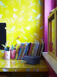 """""""I love mixing colours and cultures!""""- gorgeous bright yellow wallpaper"""