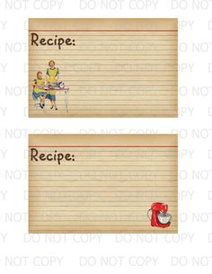 Printable DIY Retro Housewife Recipe Cards by onelovedesignsllc, $2.50