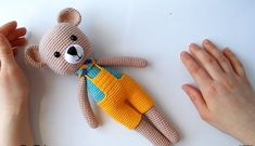 Amigurumi Bear Recipe - Handmade That Crochet Motifs, Crochet Toys, Crochet Baby, Crochet Christmas Decorations, Crochet Decoration, Amigurumi Doll, Amigurumi Patterns, Toy Trumpet, Lol Dolls