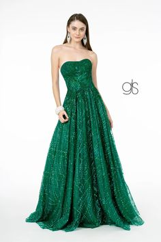 Glitter Mesh A-Line Long Prom Dress | The Dress Outlet