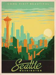 Seattle: Space Needle - After winning international acclaim for creating the Spirit of Nashville Collection, designer and illustrator Joel Anderson set out to create a series of classic travel posters that celebrates the history and charm of America's greatest cities. He directs a team of talented Nashville-based artists to help him keep the collection growing.
