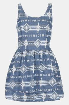 Summer Concert Look: Frock out with this adorable dress from Topshop (Petite Tribal Lattice Dress) Topshop Denim Dress, Cute Fashion, Fashion Outfits, Ladies Fashion, Fashion Clothes, Women's Fashion, Music Festival Fashion, Tribal Dress, Printed Denim