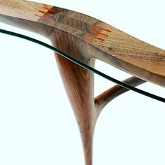 Some of the amazing joinery of the Cloud glass top table #woodwork #joinery #walnut #cloudtable #wood #glass #table