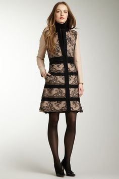RED Valentino Tiered Lace Trim Coat