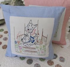 Blue Bed Pillow of Upcycled Vintage Embroidery, Scottie Dog Pillow, Rocker Pillow with Scotty Dogs, Boudoir Pillow, 14 inch, Pil4