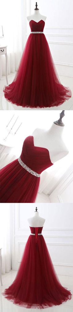 burgundy tulle long prom dress, burgundy bridesmaid dress, burgundy evening dresses