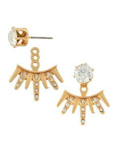 8d3d2361e Adorn By Lulu Gold Spikey Earring Jacket Set Ear Jacket, Earring Jacket,  Button Earrings