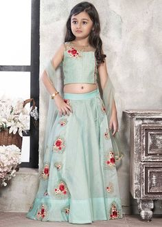 Shop Wedding girls sky blue color choli suit online from India. Kids Party Wear Dresses, Girls Party Wear, Baby Girl Party Dresses, Little Girl Dresses, Girls Dresses, Kids Wear, Baby Dress, Baby Girl Lehenga, Lehenga For Girls