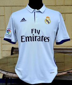 SPANISH LA LIGA REAL MADRID 2016-2017 FOUR TITLE CHAMPIONSHIP HOME JERSEY CAMISETA LARGE Real Madrid Kit, Vintage Jerseys, Football Jerseys, Polo Ralph Lauren, Soccer, Classic, Mens Tops, Shirts, Collection