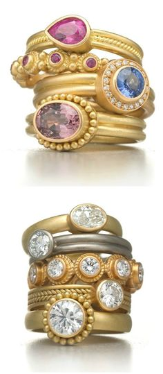 Rings by Reinstein Ross, in gold with diamonds and colored gemstones . Modern Jewelry, Gold Jewelry, Jewelery, Jewelry Accessories, Fine Jewelry, Jewelry Trends, Black Jewelry, Gold Bangles, Beautiful Wedding Rings
