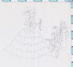 crinoline lady - Google Search Modern Embroidery, Hand Embroidery Patterns, Vintage Embroidery, Beading Patterns, Cross Stitch Embroidery, Machine Embroidery, Red Words, Umbrella Girl, Thread Art