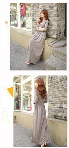 9.85  2015 automne coréenne mode casual à manches longues robe robe de  couleur pure robe longue dans Robes de Mode Femme et Accessoires sur  AliExpress.com ... e7679e20990