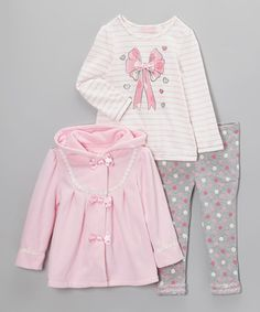 Another great find on #zulily! Pink Ribbon Swing Jacket Set - Infant, Toddler & Girls #zulilyfinds