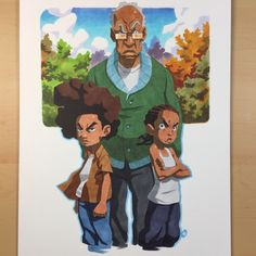Freeman family commission! First time drawing these boys. The Boondocks is forever a classic. #copicmarkers on 9x12 canson fanboy paper.