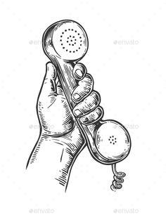 Retro Classic Telephone in Male Hand