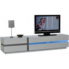 meuble tv design 1 niche 1 tiroir en bois + kit led + pieds laqué ... - Meubles Tv Hifi Design