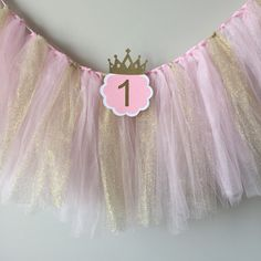 High chair tutu, Pink and gold birthday party, high chair banner, 1st birthday high chair banner, first birthday tutu by TinyEnchantments on Etsy https://www.etsy.com/listing/251385163/high-chair-tutu-pink-and-gold-birthday