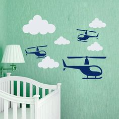Wall Decal Plane Airpalane Air Clouds Boy Nursery Kids Room Vinyl Sticker MA269 Helicopter Birthday, Plane, Wall Decals, Kids Room, Nursery, Clouds, Stickers, Ideas, Home Decor