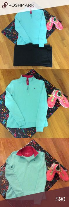 Bundle of a Vineyard Vines quarter zip and Nike S8 Bundle of a vineyard vines mint green quarter zip and size 8 Nike or CM 25 in a bright orange. Nike training/ Nike free Balanza. The top has two small stains...note the blue tape.  The top has only been washed in cold water and lined dried. It is a beautiful color Vineyard Vines&Nike Tops