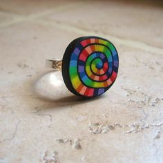Rainbow swirl polymer clay ring