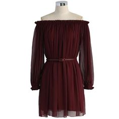 Chicwish Spring Romance Off-shoulder Dress in Wine ($56) ❤ liked on Polyvore featuring dresses, red, wine dress, brown dress, baby doll dress, red babydoll dress and red off shoulder dress