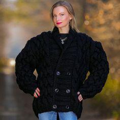 3.3 KG Hand Knitted Mohair Wool Sweater Coat ChunkyBlack Cardigan by SUPERTANYA #SuperTanya #BasicCoat