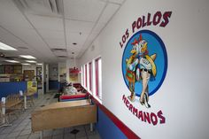"Los Pollos Hermanos, Albuquerque is the flagship restaurant of the Los Pollos Hermanos chain. It has had many visitors from employees of Gus' other business, namely Walter White, The Cousins, and Mike Ehrmantraut. Hank Schrader has also staked out the restaurant to monitor Fring. When Gus wants to talk to one of his employees, he texts them ""Pollos"" to have them meet at his restaurant or chicken farm."