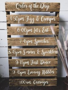 Order Of The Day Mini Pallet. Make sure your wedding guests know what to expect. The perfect addition to any industrial, country or rustic wedding theme. barn wedding Order Of The Day Mini Pallet Order Of The Day Wedding, Plan Your Wedding, Wedding Tips, Diy Wedding, Perfect Wedding, Destination Wedding, Wedding Planning, Wedding Day, Wedding Hacks