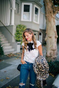 "Gal Meets Glam Jumping Into Fall -Alice + Olivia top, Alice + Olivia coat, Paige Denim c/o Nordstrom, Kate Spade bag c/o, Laura Mercier Lipstick in ""Boudoir"""