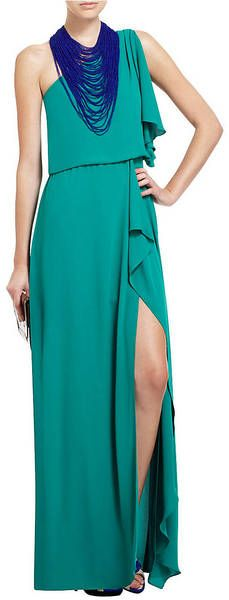 Bcbgmaxazria Kendal OneShoulder Ruffled Evening Gown in Green (ultra green) | Lyst