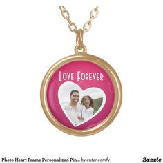 Photo Heart Frame Personalized Pink/White Round Pendant Necklace