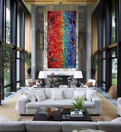 Painting Jackson Pollock art Drip Style Blue Red artwork large Oil Painting on Canvas - Modern Wall Artwork oversize Luxury Vintage Red Artwork, Large Artwork, Large Wall Art, Abstract Canvas, Oil Painting On Canvas, Canvas Art, Acrylic Paintings, Oil Paintings, Acrylic Canvas