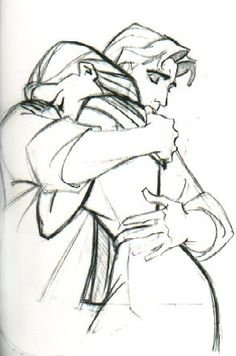 This is a matter of hugging; while it's easy to draw a freestanding figure, one needs to know where to place the arms and the perspective of the hands and fingers during a tender moment like this.