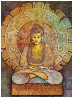 Buddha - Tarot Artwork by Artist Lotus Buddha, Art Buddha, Buddha Artwork, Buddha Painting, Buddha Buddhism, Buddhist Art, Magical Paintings, Nature Paintings, Christmas Paintings On Canvas