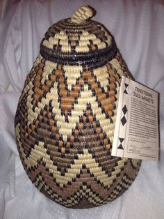 Tall Zigzag Traditional Handmade African Zulu Basket With Signed Card #BasketsContainers
