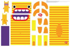 Hungry Monster Laundry Bag: Orange/Yellow fabric by sammyk on Spoonflower - custom fabric