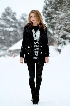 Black Winter Wear. Cute Hair
