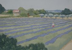 Lavendelfield near Bonnieux (gouache, Eduard de Vries)